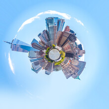 Skyline Sphere Panorama Of Downtown Financial District And The Lower Manhattan In New York City, USA. Mini Planet Style