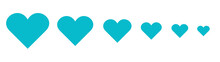 сердца синие векторные, Blue Heart, A Set Of Hearts Of Different Sizes