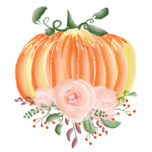 Pumpkin And A Flower Arrangement. Invitations, Postcards, Banners, Posters. Design For Printing. Holiday Illustration. Design Elements.