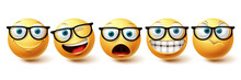 Smiley Face Vector Set. Smileys Nerd Face With Funny, Happy And Naughty Facial Expressions In Yellow Color Emoji Isolated In White Background. Vector Illustration