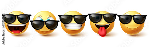 Smiley face vector set. Emoji cool face collection in happy, funny and cute facial expressions isolated in white background for character emoticon design . Vector illustration
