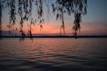 Sunset Or Sunrise With Trees On Lake