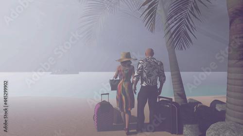 Fotografia, Obraz Casal de férias. vacation couple.