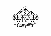 Black Line Art Illustration Of Camping Tent And Mountain