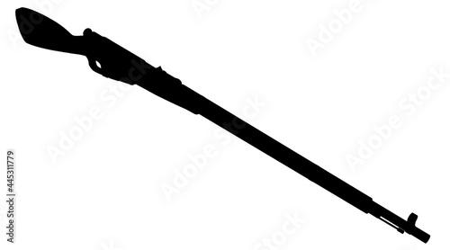 Billede på lærred Silhouette of an antique gun isolated on a white background