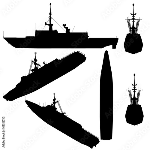 Set with silhouettes of a combat ship in various positions isolated on a white background Fotobehang