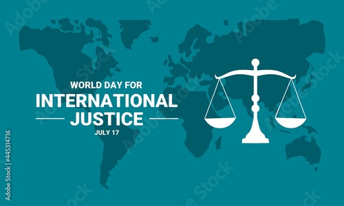 Fotografia Vector illustration of World Day for International Justice, with world map and scales of justice
