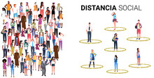 People Keeping Distance To Prevent Coronavirus Social Distancing Safety Instructions Concept Do And Don't Poster