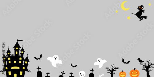 Stampa su Tela かぼちゃとおばけと魔女と城のハロウィンのベクターイラスト背景(フレーム)