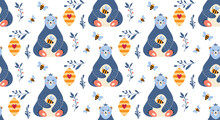 Seamless Pattern With Bear Honey And Bee