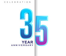 35th Years Anniversary With Colorful Design. Applicable For Brochure, Flyer, Posters, Web And Banner Designs, Anniversary Celebration
