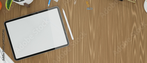 Tableau sur Toile Tablet empty screen mock up with copy space on wooden table