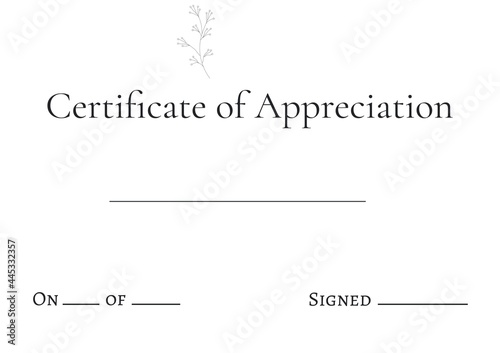 Certificate template with name and signature text with white lines and copy space