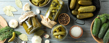 Concept Of Cooking Pickles On Gray Wooden Table
