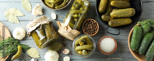 Billede på lærred Concept of cooking pickles on gray wooden table