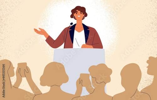 Confident speaker behind podium during stage speech. Smiling woman talking before audience. Female leader at public speaking. Good presentation of businesswoman. Flat vector illustration
