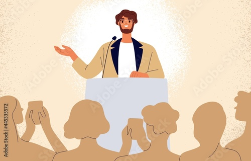 Confident man behind podium during stage speech. Speaker talking before audience. Businessman at successful public speaking. Smiling spokesman before crowd of people. Flat vector illustration