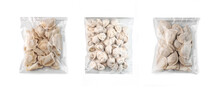 Set Of Various Frozen Uncooked Dumplings In Recycled Clean Plastic Package On White Background Isolated. Selective Focus. Assortment For Online Delivery Shop