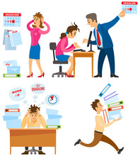 Missing Deadline, Bad Time Management. Work In High Stress Conditions And Under Hard Boss Pressure. Scene Of Tired, Nervous, Stressed People Clutches Head At Work, Many Tasks. Deadline Metaphors