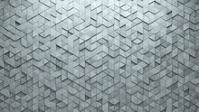 3D, Concrete Mosaic Tiles Arranged In The Shape Of A Wall. Polished, Semigloss, Bricks Stacked To Create A Triangular Block Background. 3D Render