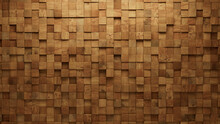 Wood, Soft Sheen Mosaic Tiles Arranged In The Shape Of A Wall. Square, Timber, Blocks Stacked To Create A 3D Block Background. 3D Render