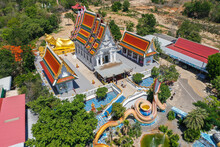 Wat Khao Sung Chaem Fa Temple With Giant Snake And Reclining Gold Buddha, In Kanchanaburi, Thailand