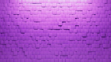 Square, Polished Mosaic Tiles Arranged In The Shape Of A Wall. Purple, Semigloss, Bricks Stacked To Create A 3D Block Background. 3D Render