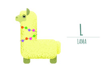 Cute White Lama In The Form Of A Letter - L..children's Alphabet. Poster, Postcard.