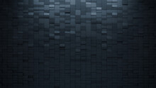 3D, Semigloss Mosaic Tiles Arranged In The Shape Of A Wall. Black, Rectangular, Bricks Stacked To Create A Polished Block Background. 3D Render