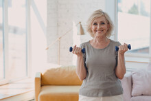 Elderly Caucasian Old Aged Woman Portrait Gray Haired Doing Exercises With Dumbbells In Casual Wear At Home Apartment Living Room