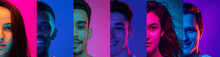 Cropped Portraits Of Group Of People On Multicolored Background In Neon Light, Collage.