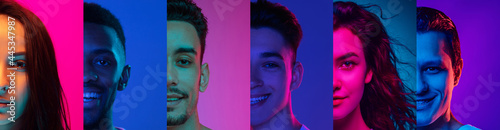 Photographie Cropped portraits of group of people on multicolored background in neon light, collage