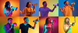 Portraits of different models on multicolored background in neon light. Flyer, collage made of models. Concept of emotions, facial expression, sales, advertising.