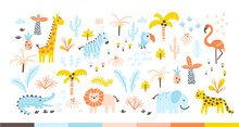 Tropical Jungle Set With Wild Animals And Palms In A Simple Hand-drawn Scandinavian Doodle Style. Nurseri Pastel Palette Is Ideal For Printing Baby Clothes, Textiles, Fabrics. Vector Isolate.