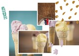 Abstract shapes over collage of photos of ice-cream and dessert against white background