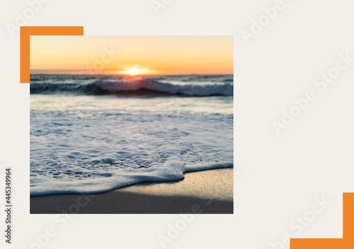 Photograph of sea and sunset at the beach against grey background