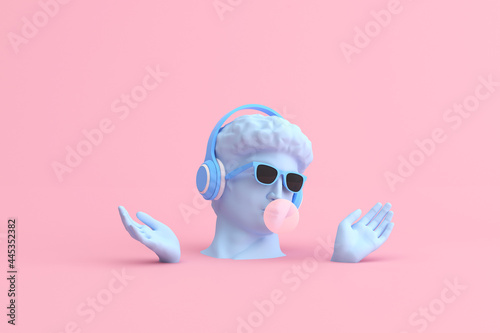 Minimal scene of sunglasses and headphone on human head sculpture, Music concept, 3d rendering Fotobehang