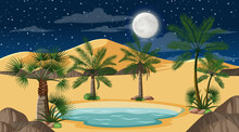 Desert Forest Landscape At Night Scene With Small Oasis