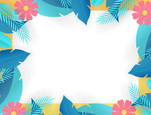 End Of Summer Sale Design With Paper Cut Tropical Fun Bright Color Background Layout Banners. Hello September Social Media Post Or Stories Background. Voucher Discount. Vector Illustration Template
