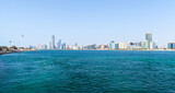 Fototapeta Konie - Panoramic view of Abu Dhabi downtown. Cityscape