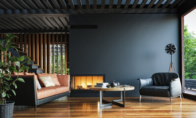Fototapeta na wymiar Modern dark home interior background, wall mock up, 3d render