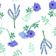 Blue Flowers Anemone And Lavender On White Background. Seamless Vector Illustration.