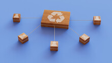 Eco Technology Concept With Recycle Symbol On A Wooden Block. User Network Connections Are Represented With White String. Blue Background. 3D Render.
