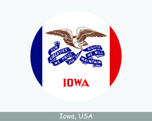 Iowa Round Circle Flag. IA USA State Circular Button Banner Icon. Iowa United States Of America State Flag. Hawkeye State EPS Vector