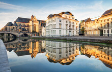 Belgium, Ghent - Canal And Medieval Buildings In Popular Touristic City
