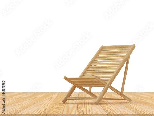 Billede på lærred One empty wooden deck chair on a wooden surface on a white background