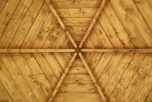 Wooden Ceiling Surface Arbor In Form Of Rays Pattern Flat Lay