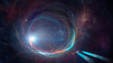 Space Background. Spaceship Flying To Colorful Fractal Tunnel With Nebula Stars. Elements Furnished By NASA. 3D Rendering