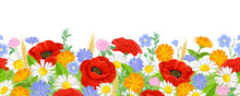 Summer Flowers Seamless Border. Poppy, Daisy, Marigold, Flax, Clover And Chicory. Vector Illustration Of Wild Flowers On Blooming Meadow In Cartoon Flat Style. Floral Pattern, Garland.