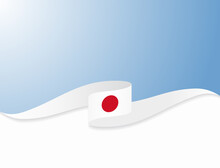 Japanese Flag Wavy Abstract Background. Vector Illustration.